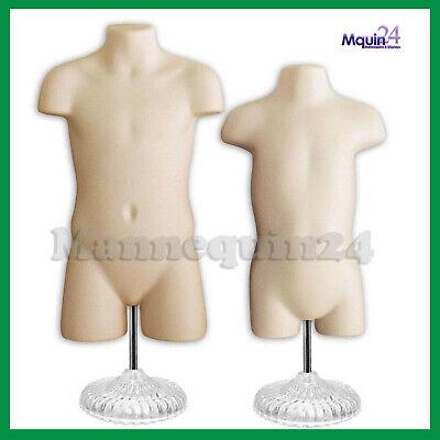 Set Of Child Toddler Torso Mannequins Flesh Kid Display With Stands Hangers