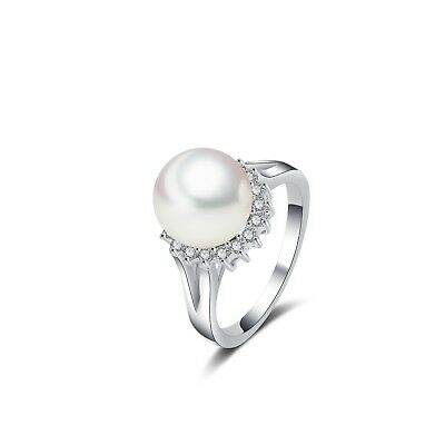 Sunshine Pearl CZ Ring 14K White Gold Plated Brass All (Brass Pearl Ring)