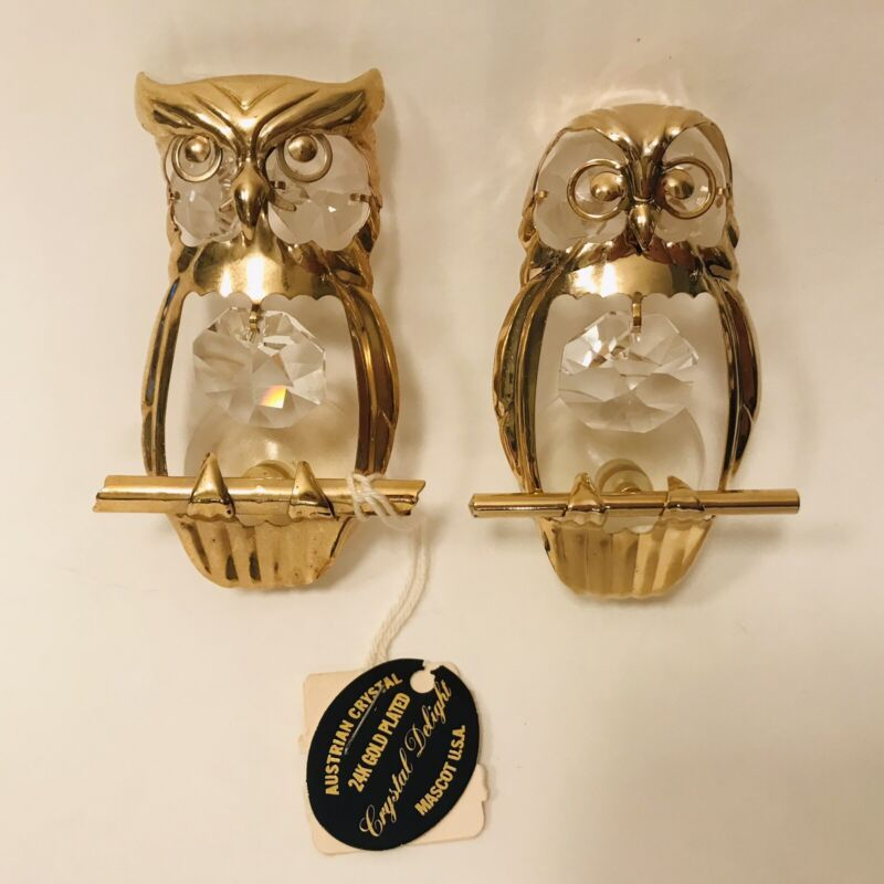 Vtg Mascot Crystal Delight 24K Gold Plated Austrian Crystal OWLS w/ suction cups