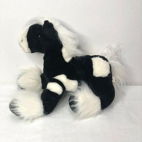 "Toys R Us Animal Alley Horse Clydesdale Black White Pony 12"" Plush Animal"