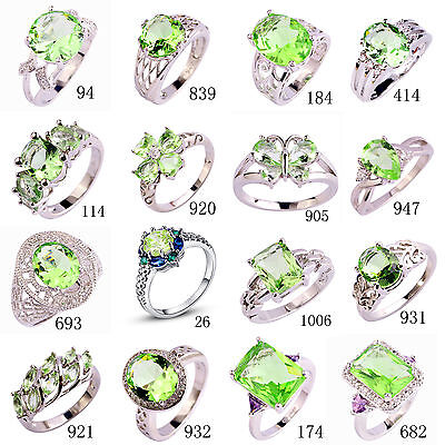 Gift Green Amethyst White Gemstone Jewelry Silver Ring Size 6 7 8 9 10 11 12 13