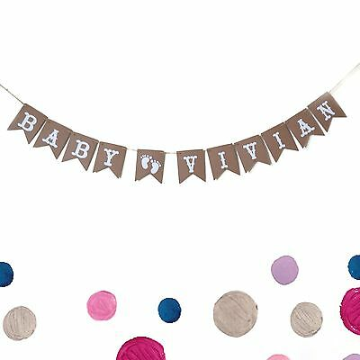 Custom Personalized Baby Name Baby Shower Banner, Happy Birthday Flag - Custom Happy Birthday Banners