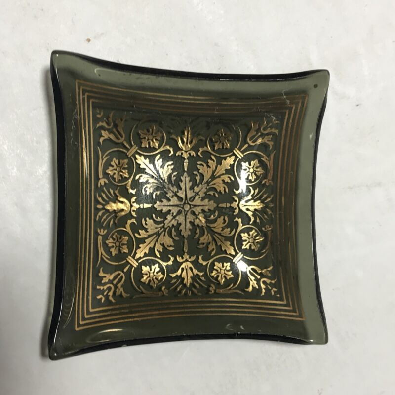 Glass Butter Pats with Black with Gold overlays vintage set of 4