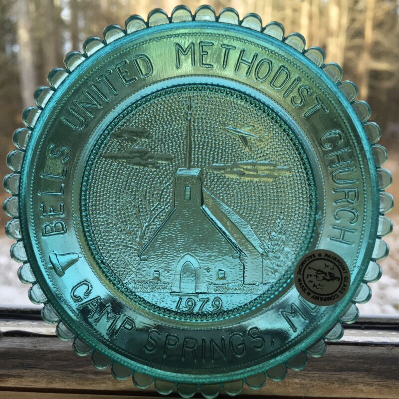 Camp Springs MD Church Andrews AFB Maryland Mantel Art Glass Pairpoint Cup Plate