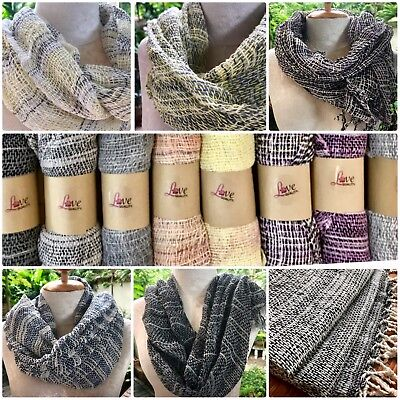 Scarf Thai Organic Cotton Soft Hand Woven Scarves Thai Cotton Organic Dye -