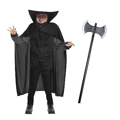 Mens Headless Halloween Costumes (Mens Headless Horseman Beheaded Bloody Axe Halloween Horror Fancy Dress)