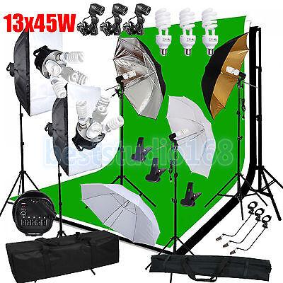 Photo Studio 2925W Continuous Lighting kit Softbox Umbrella Background & Stand