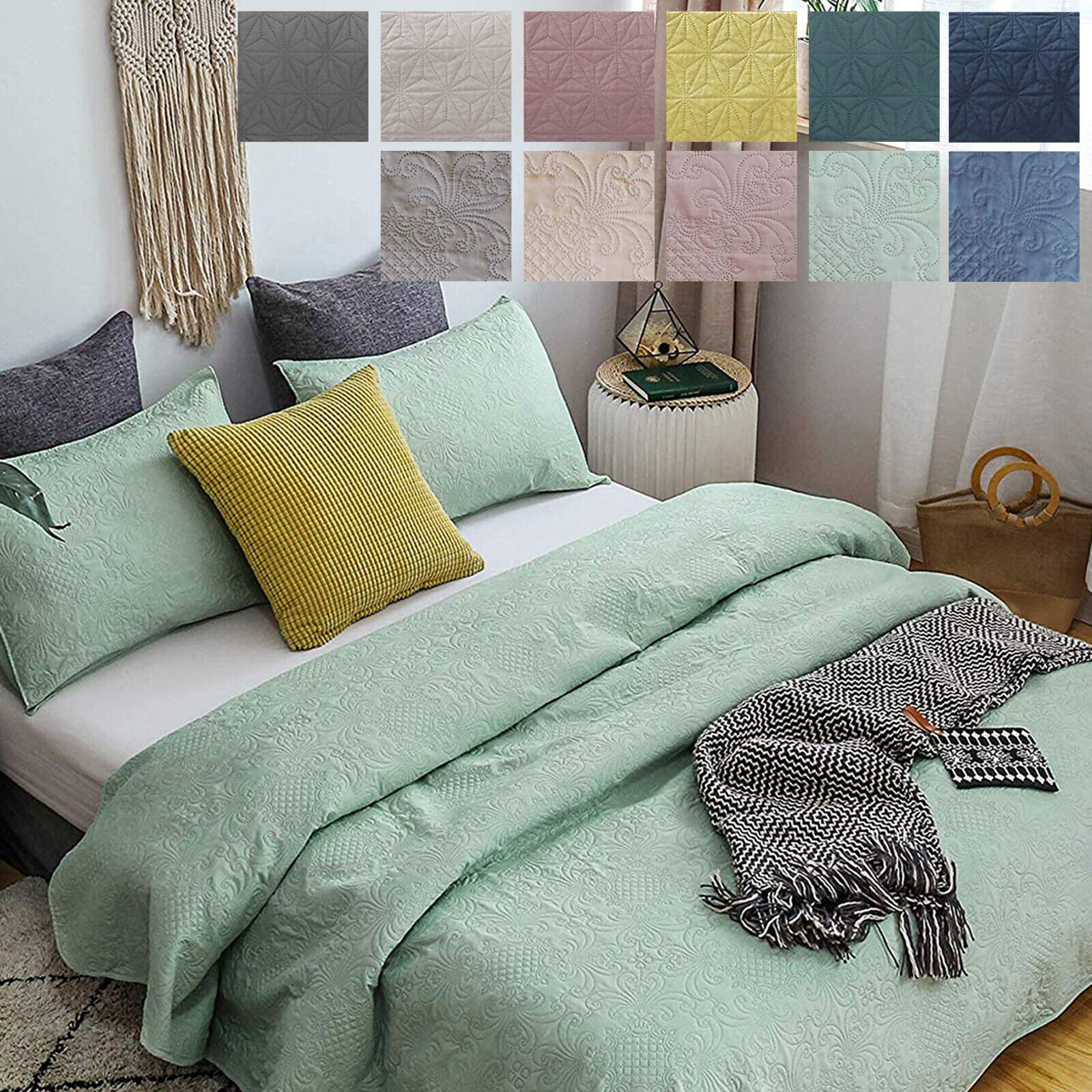 Luxury Ultra Soft Warm Microfiber Quilted Coverlet Bedding B