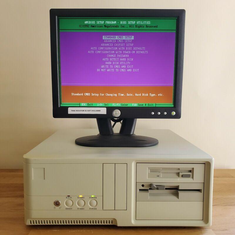 VINTAGE AT DESKTOP AMD 386 40 MHz 1MB PC CHIPS M321 Oak Tech OTI067 ISA VGA