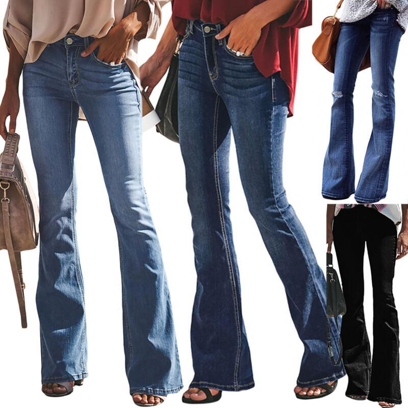 Damen Bootcut Jeans Hose Schlaghose Damenjeans Hüftjeans Freizeit Stretch Hose