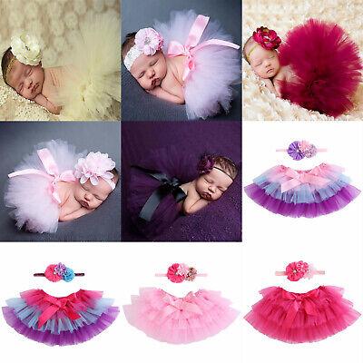 Baby Fotoshooting Fotografie Set Tütü + Stirnband Kostüm Tüll Spitze 9 Farben