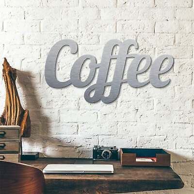 n - Silbereffekt - Coffee WANDSPRUCH metallisch WANDDEKO (Metallische Dekorationen)