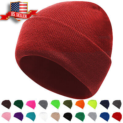 Beanie Hat Mens Womens Plain Knit Ski Cap Warm Slouchy Skull Winter Cuff Thermal