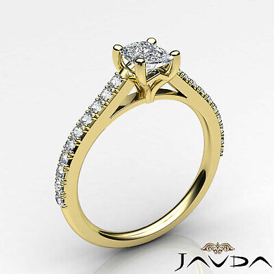French V Pave Women's Cushion Diamond Engagement Cathedral Ring GIA G VS1 0.75Ct 8