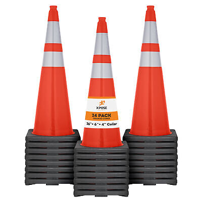 24 Of Orange Traffic Cones 36 Inch W 6 4 Collars - Pvc Plastic Safety Cone