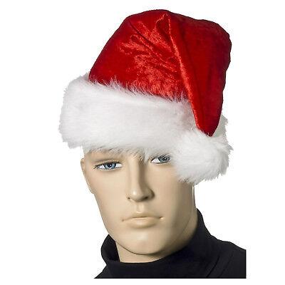 Velour Santa Claus Hat Cap Unisex Christmas X-Mas Holiday Costume Accessory