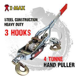 I-Max 4 Tonne Hand Winch Puller 3 Hooks 4x4 4WD Trailer Truck Comealong Hoist