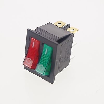 10 X Red Green Light 10a 250v16a 125vac Dpdt On Off 6 Pins Rocker Boat Switch