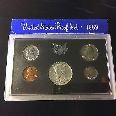 - 1969 US Mint Proof Set 5 Piece Silver-Clad Set