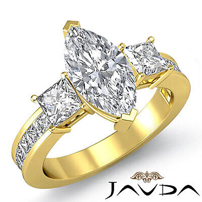 3 Stone Prong Channel Set Marquise Diamond Engagement Ring GIA G Color VS2 2.1Ct 3