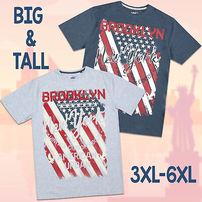 Mens Plus Size Graphic T-Shirt American Flag Brooklyn New York Tee Shirt 3XL-6XL