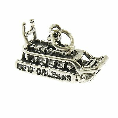 925 Sterling Silver New Orleans Riverboat Charm Made in USA