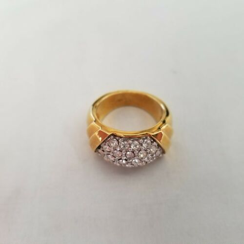 14k Gold Plated Crystal CZ Cluster Ring / Wide Band / Size 6