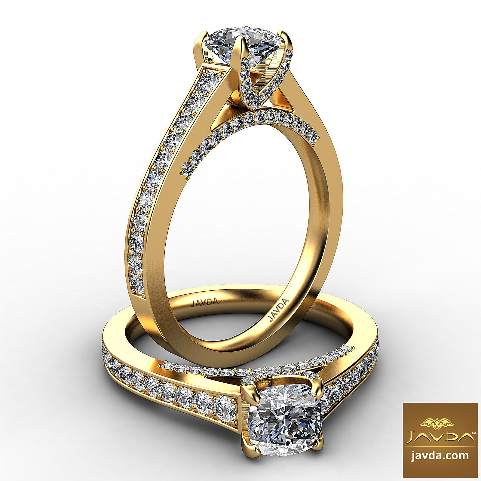 Cathedral Pave Cushion Natural Diamond Engagement Ring GIA H VS1 Clarity 1.25Ct