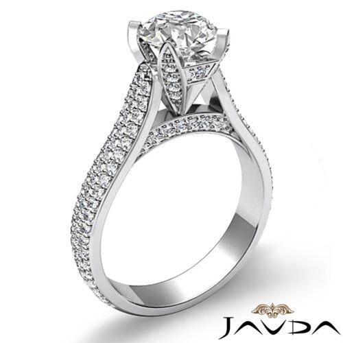 2.45ct Brilliant Cut Round Diamond Engagement Pave Set Ring GIA F VVS2 Platinum 1