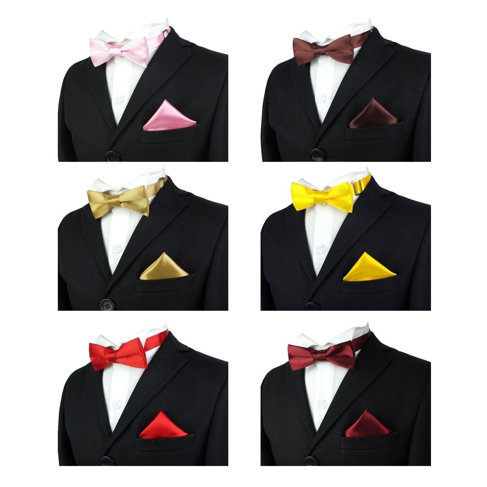 fa7fc56c51c1 Details about Boys Satin Plain Bow Tie Set Kids Pre-tied Adjustable Bow Ties  Pocket Square