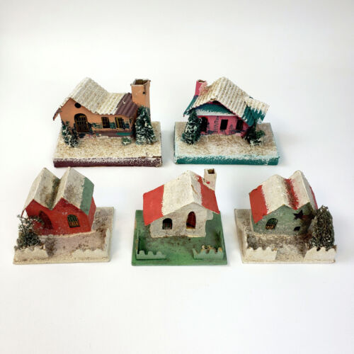 Lot of 5 Vintage Christmas Village JAPAN PUTZ Cardboard Candy Houses 1930