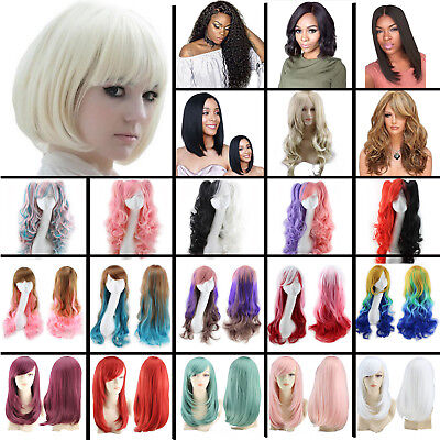 Women Long Straight Full Wig Heat Resistant Hair Black Curly Cosplay Party Wigs - White Wigs