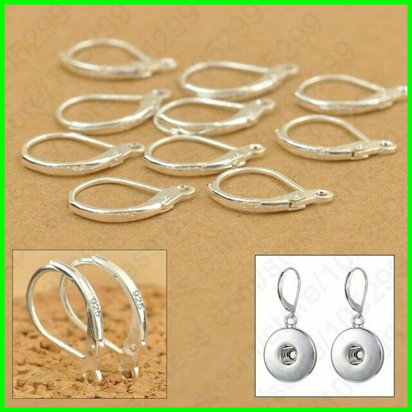 Details About 100pcs 925 Sterling Silver Earring Hooks Beads For Jewelry Making Ear Wires Set
