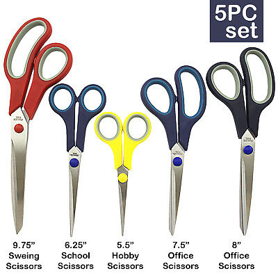 5 PIECE STAINLESS STEEL COMFORT GRIP SCISSORS SET Sewing Dress Hobby