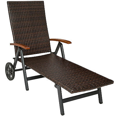 Aluminium Polyrattan Rollliege Relaxliege Sonnenliege Gartenliege B-Ware