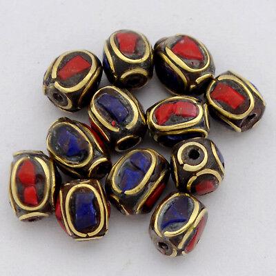 Coral Lapis Brass 12 Beads Tibetan Nepalese Handmade Ethnic Tribal Nepal UB2567