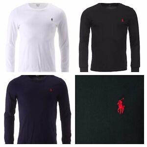 Polo-Ralph-Lauren-Cuello-Redondo-Mangas-Largas-Para-Hombre-Camiseta