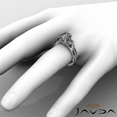 4 Prong Setting 3 Stone Oval Diamond Engagement Cathedral Ring GIA H SI1 2.3 Ct 3
