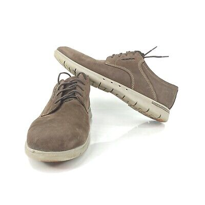 Clarks UnStructured Men's Sz 12 Brown Leather Shoes Sneakers Oxfords Lace Up