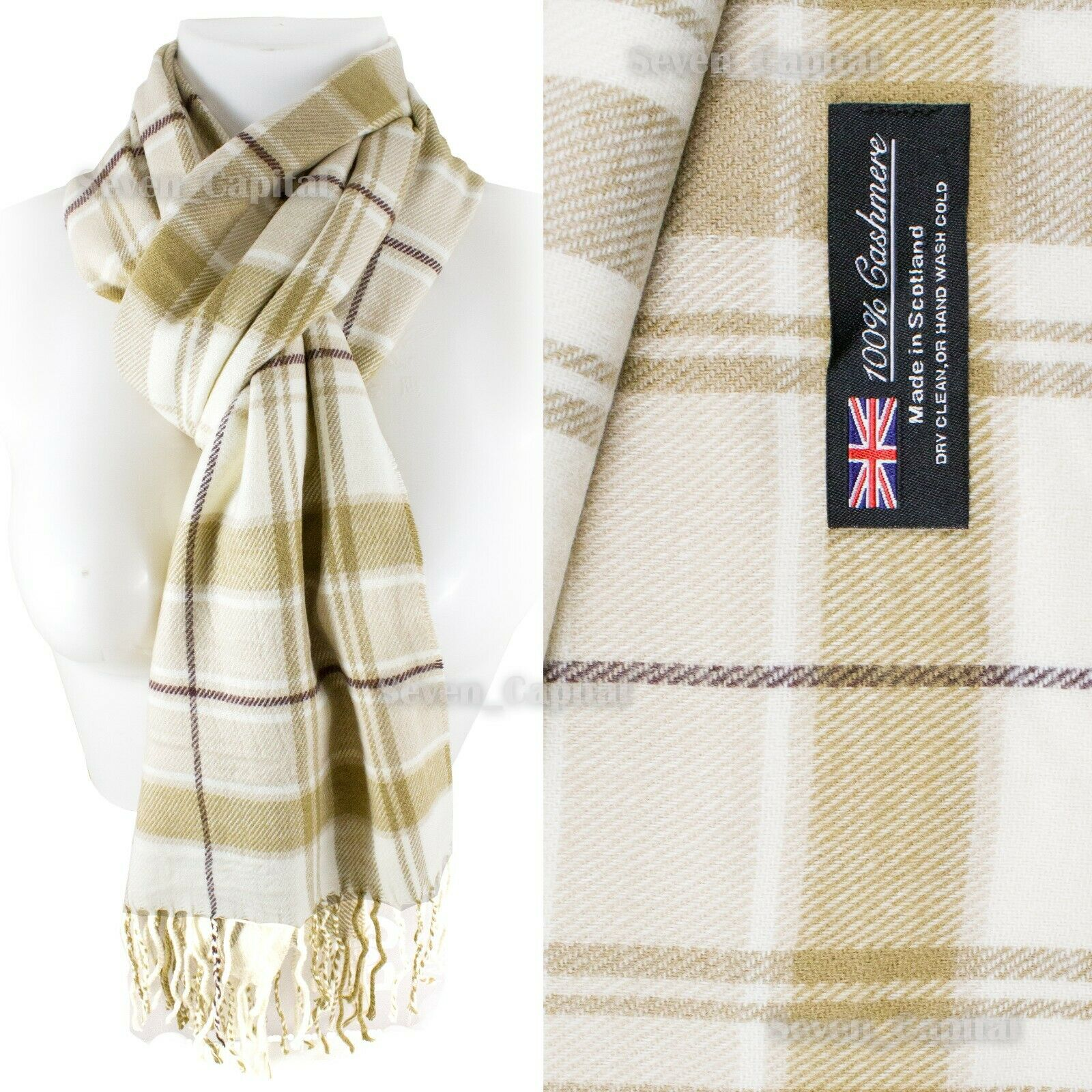 Mens Womens Winter Warm SCOTLAND Made 100% CASHMERE Scarf Scarves Plaid Wool 28. Plaid: Beige/White