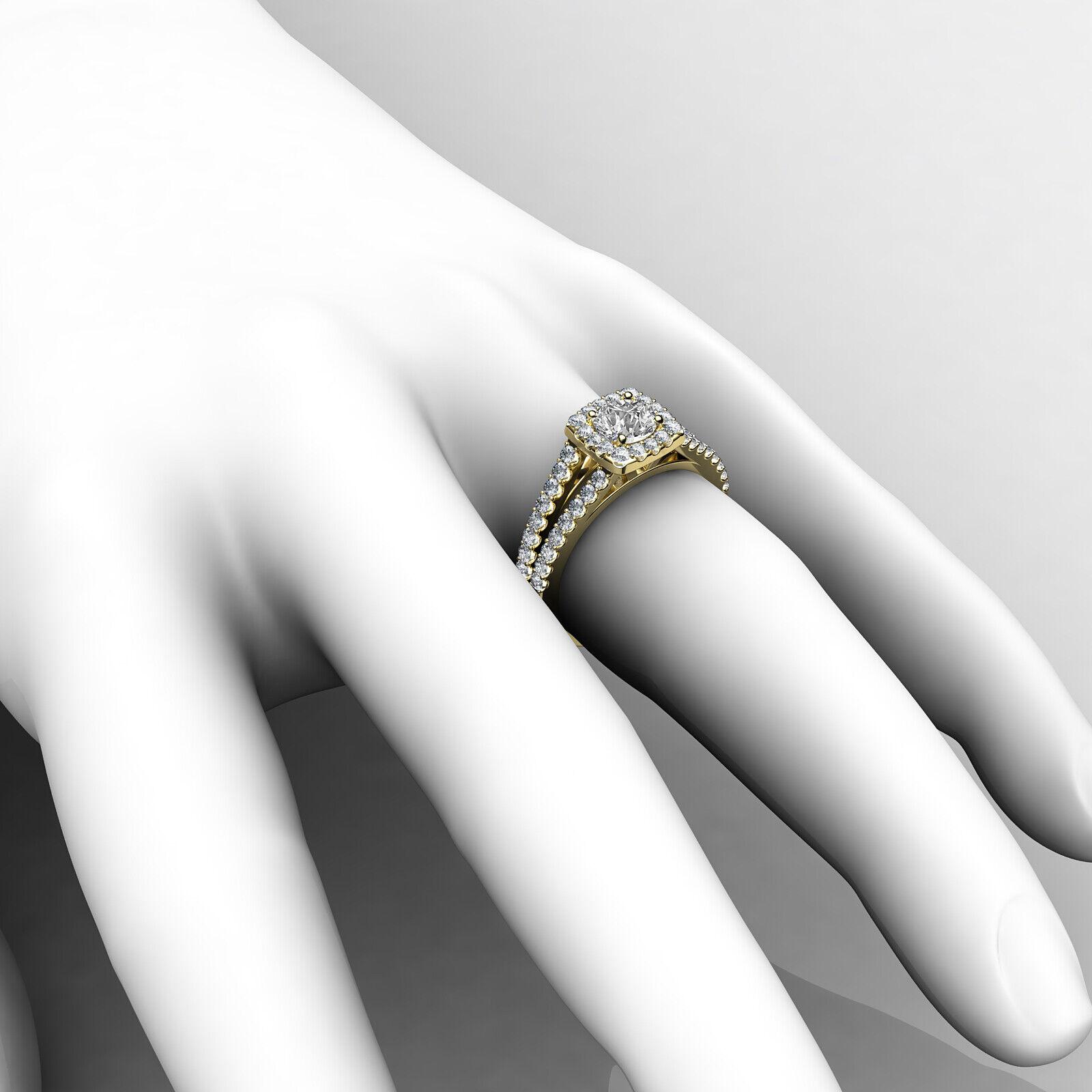 Round Diamond Engagement Halo Split Shank Ring GIA E VVS1 14k White Gold 1 1/4ct 9