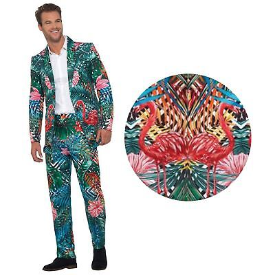 Adult Mens Hawaiian Tiki Tropical Flamingo Beach Party Suit Stag Novelty Costume