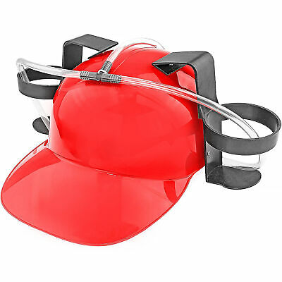 Beer & Soda Guzzler Helmet Drinking Hat, Red - Party Novelty Gag Gift NEW! - Red Party Hat