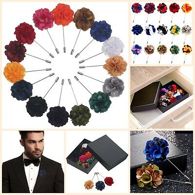 Mans Gift Box Set (Gift Box Of 15 Mens Lapel Pin Set With Handmade Flower Boutonniere For Suit New  )