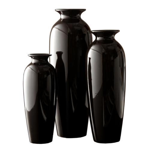 Hosley Set of 3 Black Ceramic Vases in Gift Box. Ideal Gift