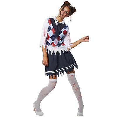 High School Zombie Kostüm (Kostüm Damen Zombie Schuldmädchen High School Horror Fasching Karneval Halloween)