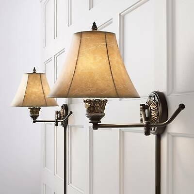 Swing Arm Wall Lights Plug In Set of 2 Lamps French Bronze for Bedroom Reading
