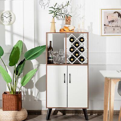 Costway Bar Cabinet Wooden Buffet Sideboard Storage Cupboard w/ Wine Rack Walnut