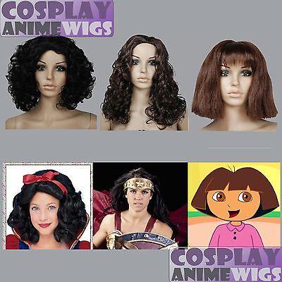 Snow White- Wonder Woman-Dora the explorer-black brown Halloween Cosplay Wig - Dora Halloween Wig