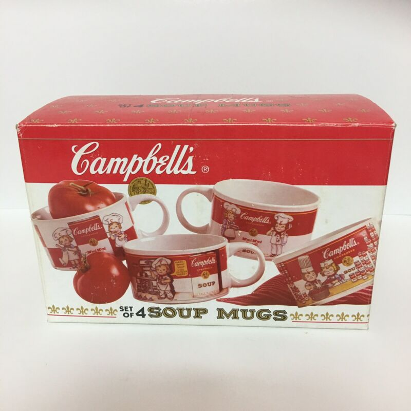 Vintage 1998 Campbell's Set of 4 Soup Mugs Colllector Edition NIB